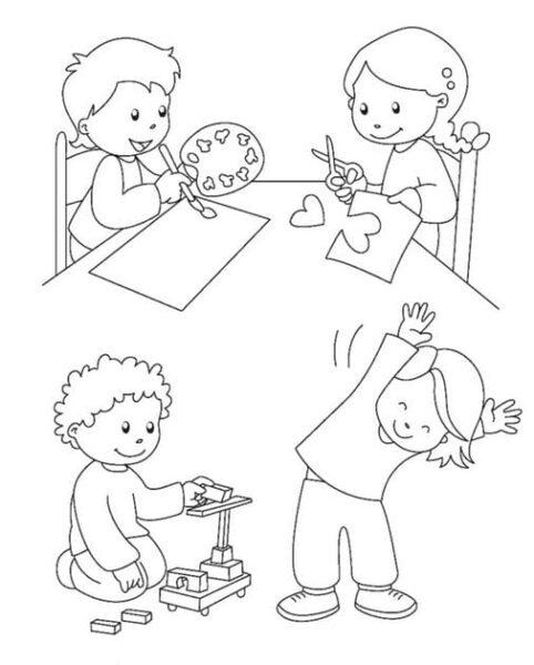 hình tập tô các bé học tập trên lớp