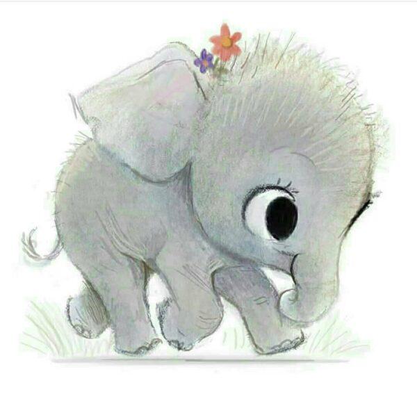 hình vẽ chú voi cute, ngộ nghĩnh