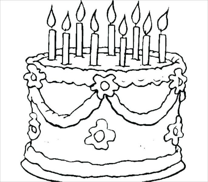 Hình vẽ chưa tô màu bánh sinh nhật