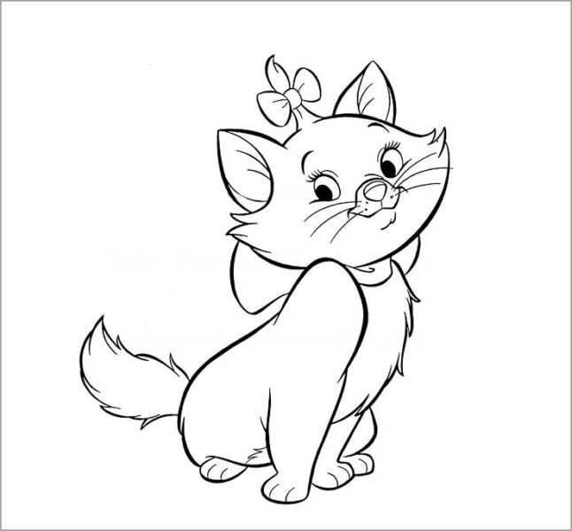 Hình vẽ chưa tô màu chú mèo dễ thương cho bé gái 7 tuổi
