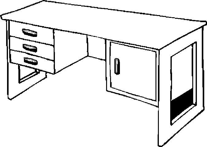 Hình vẽ chưa tô màu đồ dùng gia đình hình cái bàn làm việc