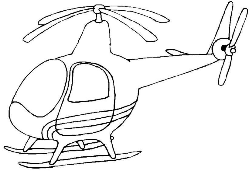 Hình vẽ chưa tô màu máy bay trực thăng