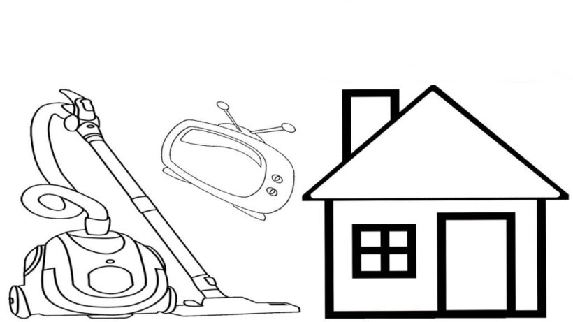 Hình vẽ chưa tô màu những đồ gia dụng của gia đình cho bé tập tô