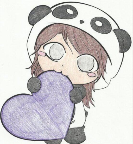 hình vẽ cô bé gấu trúc đáng yêu