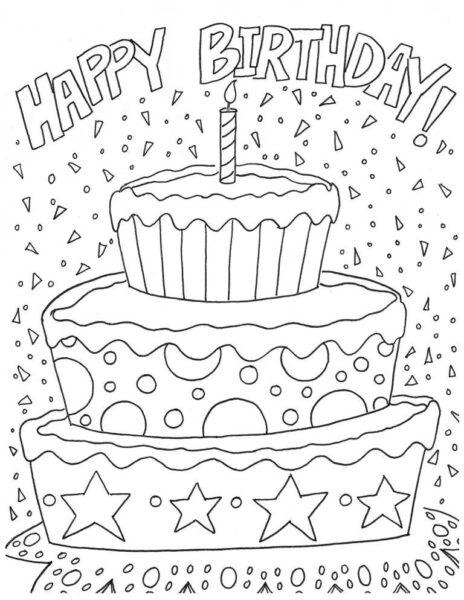 Hình vẽ đen trắng bánh sinh nhật cho bé tô màu