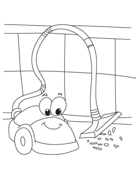 Hình vẽ đen trắng chiếc máy hút bụi của gia đình cho bé tập tô