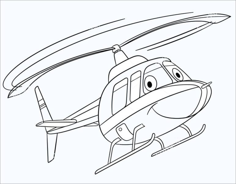 Hình vẽ đen trắng máy bay trực thăng hoạt hình
