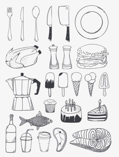 Hình vẽ đen trắng những đồ dùng của gia đình