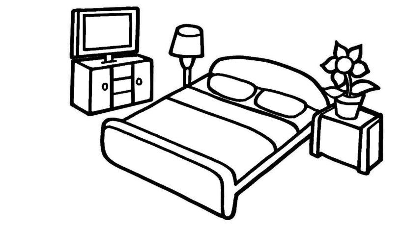 Hình vẽ đen trắng những đồ ở trong phòng ngủ của gia đình