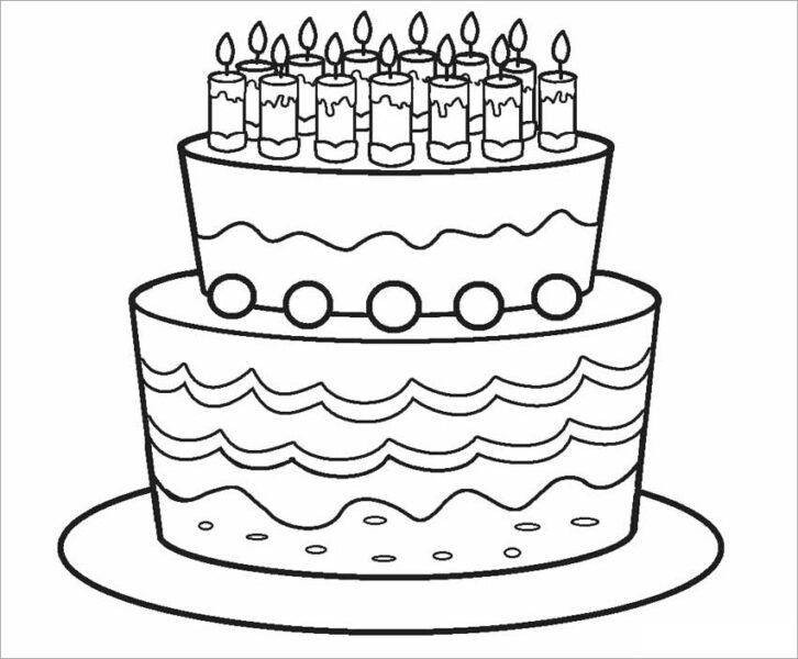 Mẫu vẽ bánh sinh nhật cho bé tô màu