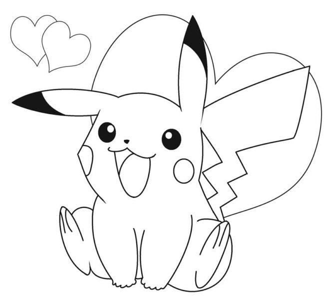 Mẫu vẽ tô màu pikachu