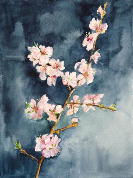 tranh đề tài mùa xuân cành đào nở đẹp