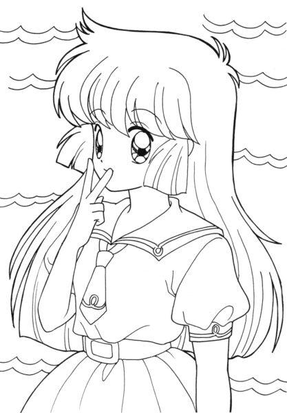 Tranh tô màu anime cute