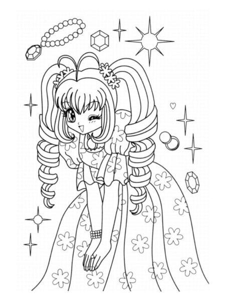 Tranh tô màu anime với những đồ trang sức