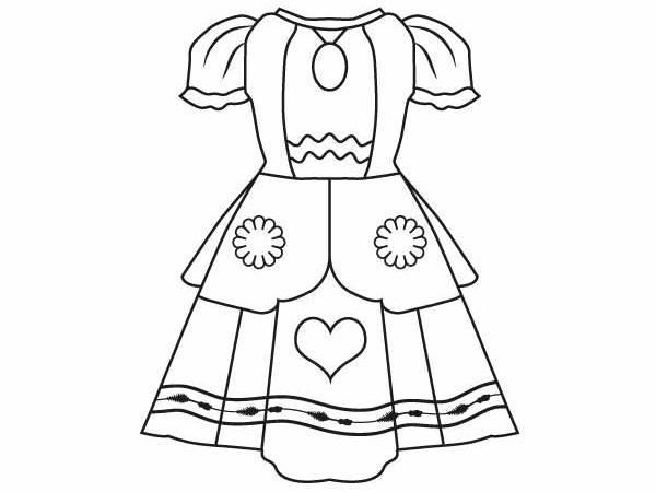tranh tô màu bộ áo váy cho bé gái 6-7 tuổi