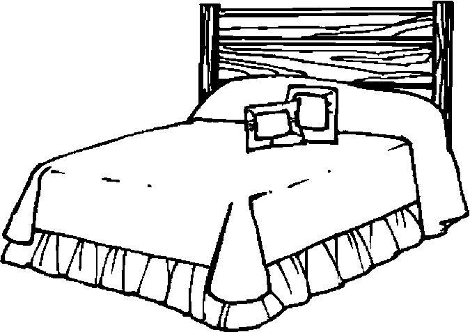 Tranh tô màu cái giường của gia đình cho bé tập tô