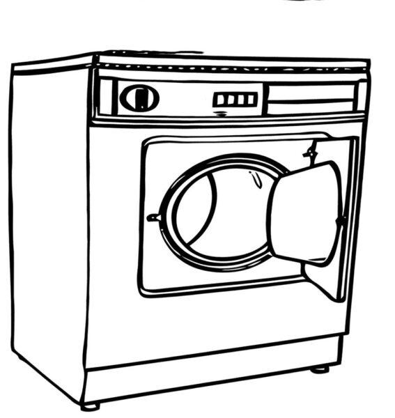 Tranh tô màu chiếc máy giặt của gia đình