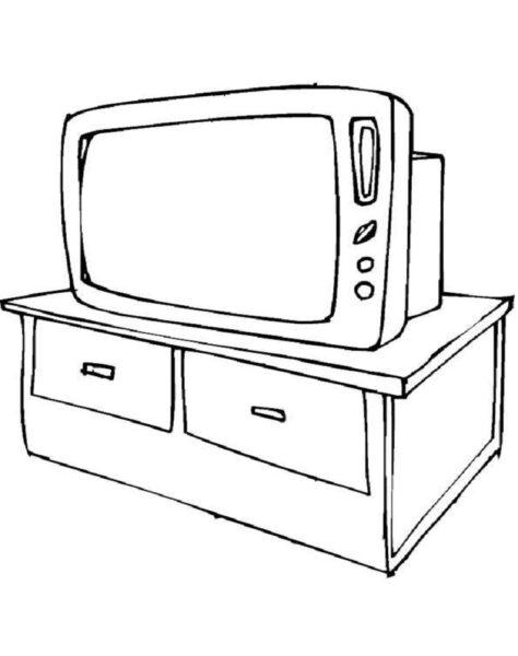 Tranh tô màu chiếc ti vi của gia đình