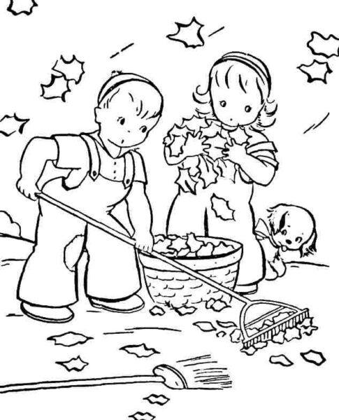 Tranh tô màu cho bé gái 7 tuổi hình những em bé đang quét dọn