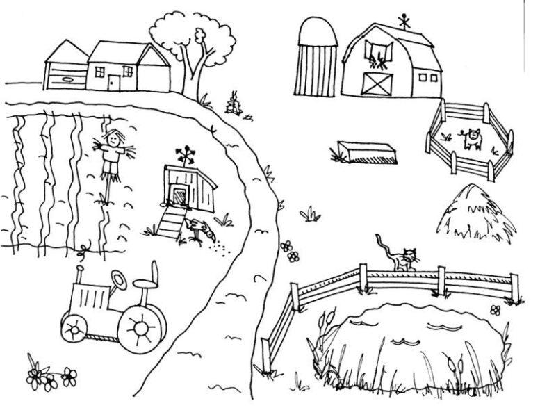 Tranh tô màu cho bé gái 7 tuổi hình thôn xóm quê hương