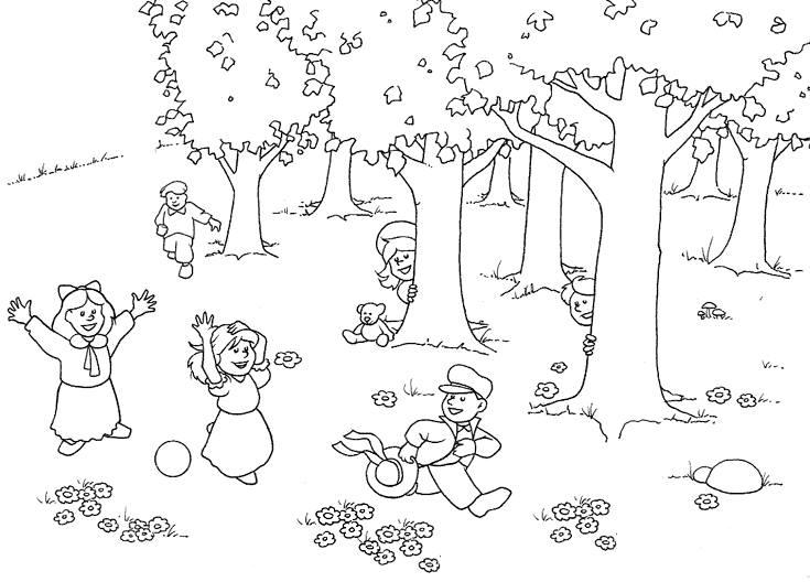 Tranh tô màu cho bé gái hình những bạn nhỏ đang vui đùa dưới những gốc cây