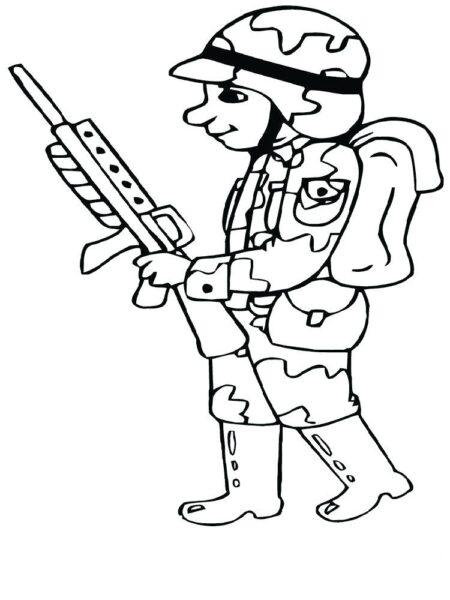 Tranh tô màu chú bộ đội khoác ba lô và cầm khẩu súng