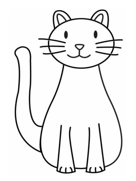tranh tô màu con mèo đơn giản cho bé 4 tuổi