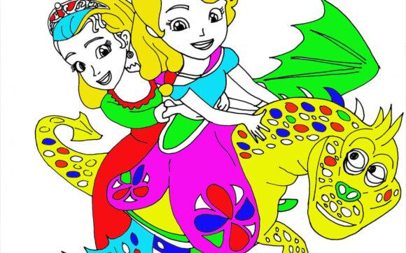 tranh tô màu công chúa chibi