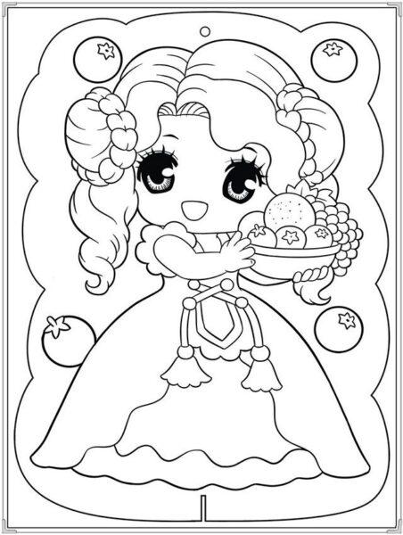 Tranh tô màu công chúa chibi bé nhỏ đang bê giỏ hoa quả
