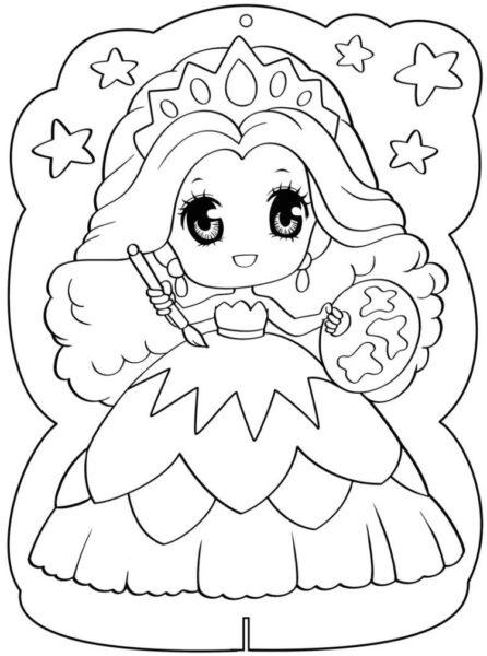 Tranh tô màu công chúa chibi đang cầm bút dễ thương