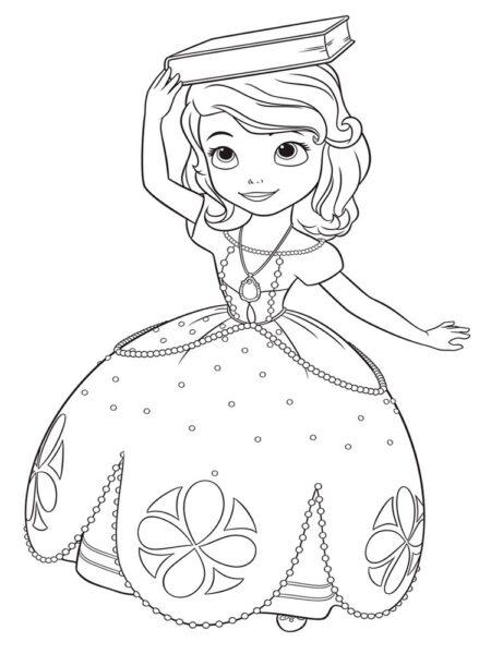Tranh tô màu công chúa chibi đang đội quyển sách