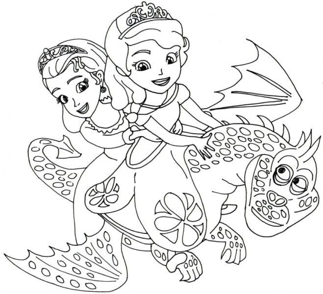 Tranh tô màu công chúa chibi hình hai cô công chúa cưỡi rồng đang bay
