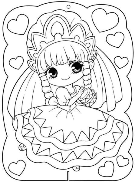 Tranh tô màu công chúa chibi tết tóc hai bên