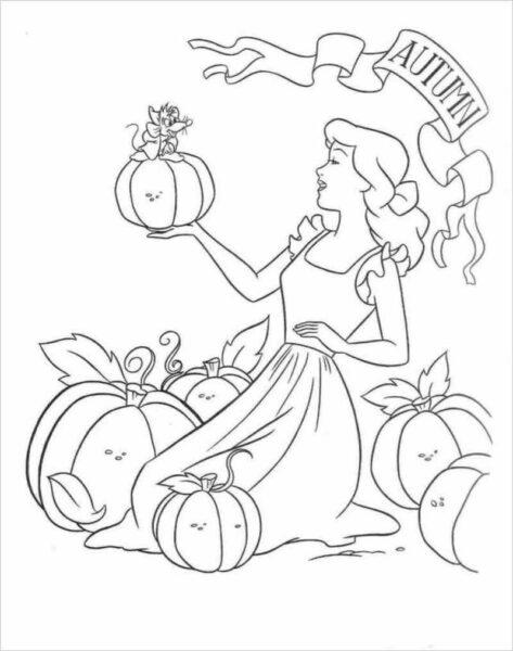 Tranh tô màu công chúa lọ lem và những quả bí ngô