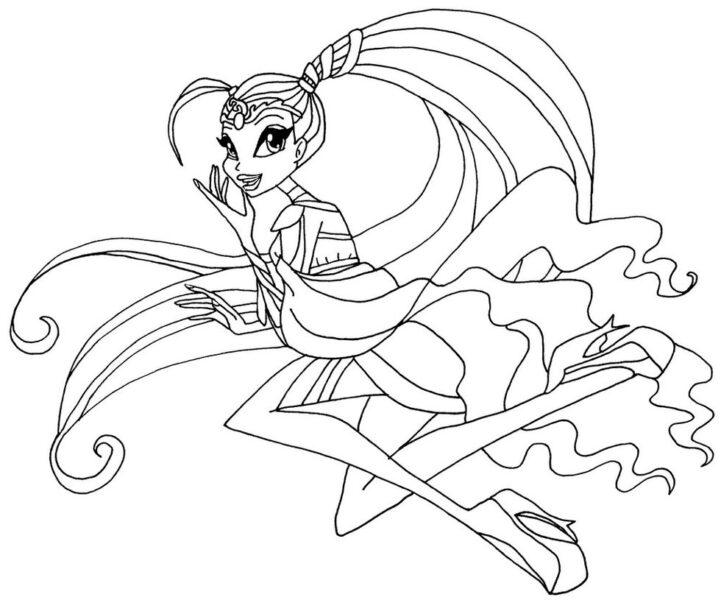 Tranh tô màu công chúa winx buộc tóc hai bên
