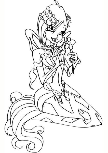 Tranh tô màu công chúa winx cầm bông hoa