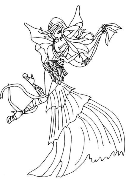 Tranh tô màu công chúa winx có chiếc váy dài