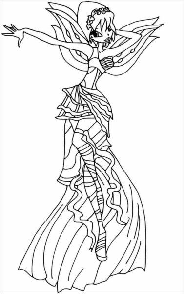 Tranh tô màu công chúa winx có chiếc váy dài đang bay
