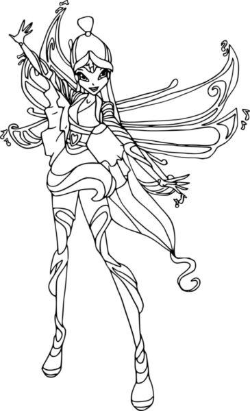 Tranh tô màu công chúa winx có đôi cánh dễ thương