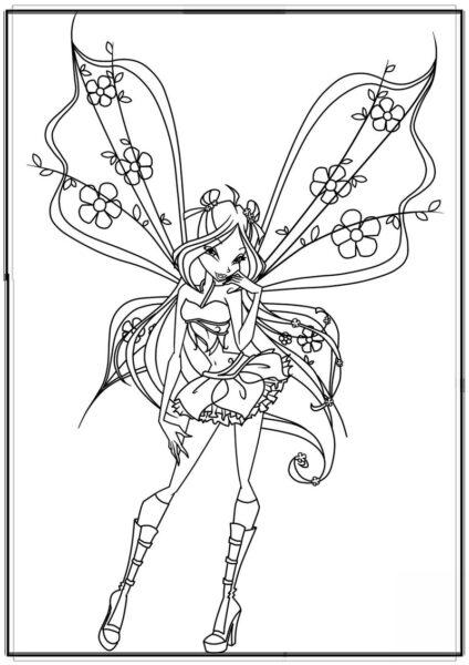 Tranh tô màu công chúa winx có đôi cánh hoa đẹp