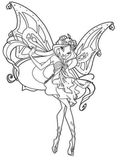 Tranh tô màu công chúa winx đang múa