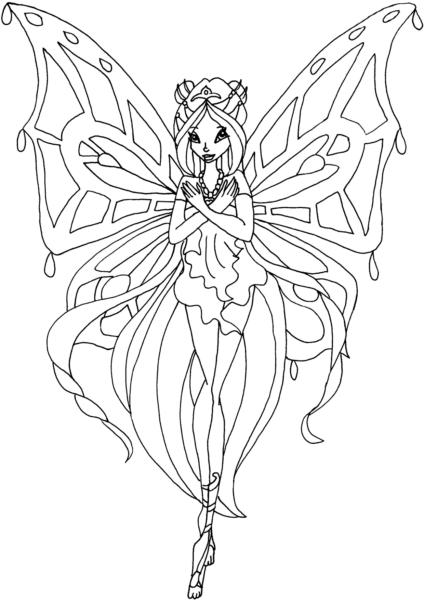 Tranh tô màu công chúa winx đang ôm tay trước ngực