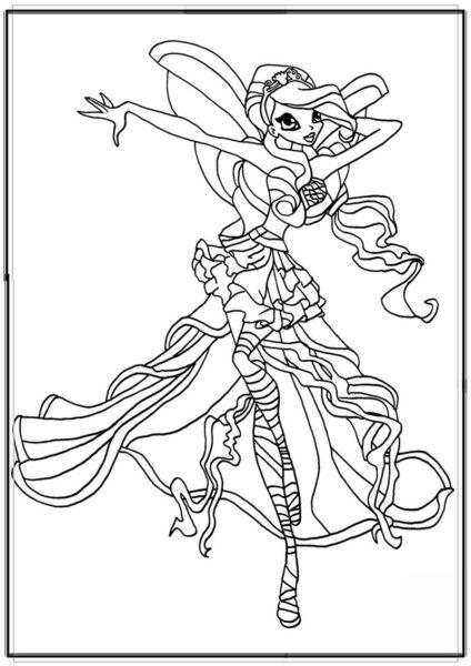 Tranh tô màu công chúa winx điệu đà
