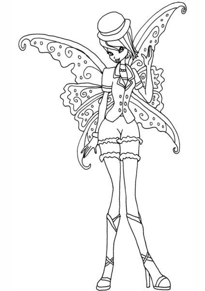Tranh tô màu công chúa winx đội mũ lệch