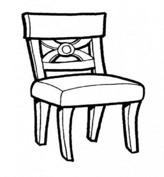 Tranh tô màu đồ dùng gia đình hình chiếc ghế