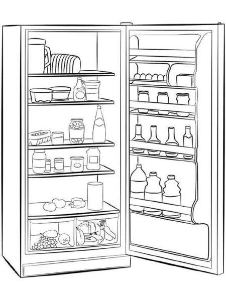 Tranh tô màu đồ dùng gia đình hình chiếc tủ lạnh