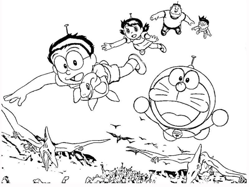 Tranh tô màu doremon đang bay cùng các bạn