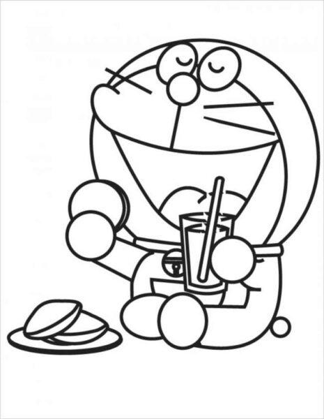 Tranh tô màu doremon đang ngồi ăn bánh rán
