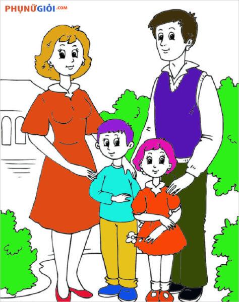 Tranh tô màu gia đình hạnh phúc 4 người đi chơi