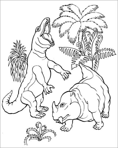 Tranh tô màu hai con khủng long khác loại